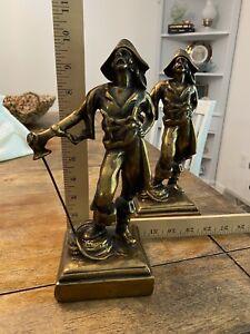 Paul Herzel, Pompeian Bronze Pirate Sculpture Antique Book Ends