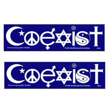 2 Coexist Interfaith Religion Peace Sign Yin Yang Symbol Cross Bumper Sticker