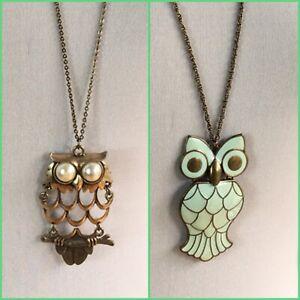 2 Vintage Look Owl Necklaces Enamelled Costume Jewellery Bird Long Statement