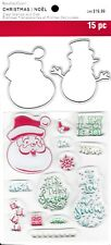 RECOLLECTIONS SANTA SAYINGS & Snowman Clear Stamps & Die Set, Christmas