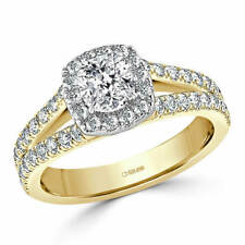 1.70 Ct Cushion Cut Bridal Diamond Wedding Ring 14K Solid Yellow Gold Size N O P