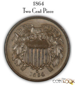 1864 Two Cent Piece, Very High Grade. Large Motto. Super Choice!
