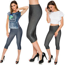 Women Capri Length Leggings Denim Imitation 3/4 Length Comfy Pants One Size FS07