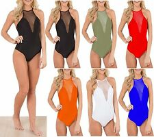 Women Fish Net Plunge Cami Halterneck Bodysuit Strap Backless Tie Leotard Top