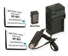 2X Batteries +Charger for Sony DSC-W560R DSC-W570 DSC-W570B DSC-WX220 DSCWX220/N