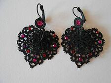 Boucles d'Oreilles  IKITA Coeur en Métal et strass Rose 5,5cm Modèle Dormeuses