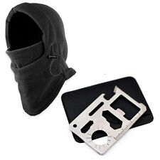 Stock Outdoor Survival Pocket Card+Winter Ski Mask Beanie Camping Hiking Gear