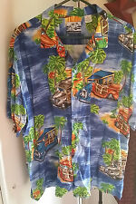 Pineapple Connection Mens XL Woody Hawaiian Shirt Extra Large Camp Rayon Woodie