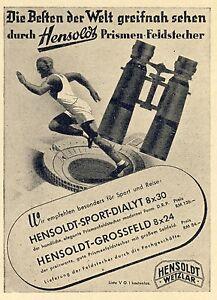 Fernglas Hensoldt Wetzlar Reklame von 1936 Fernstecher Olympische Spiele Läufer