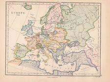 1885 VICTORIEN HISTORIQUE MAP EUROPE 1730 FRANCE ESPAGNE ALGÉRIE ALLEMAND EMPIRE