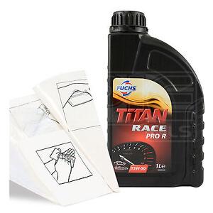 Engine Oil Top Up 1 LITRE Fuchs Titan Race Pro R 15W-50 15W50 1L +Gloves,Funnel