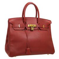 HERMES BIRKIN 35 Hand Bag □E 17 Purse Rouge H Veau Crispe Togo France 30402