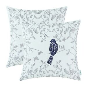 """2Pcs Navy Blue Floral Embroidered Bird Cushion Covers Pillows Shells Home 16x16"""""""