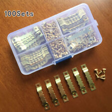 100 Sets Picture Saw Tooth Hanger 45mm Brassed + Screws Canvas Frame Hook + Box