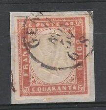 FRANCOBOLLI 1859 SARDEGNA C. 40 VERMIGLIO MATTONE Z/5118