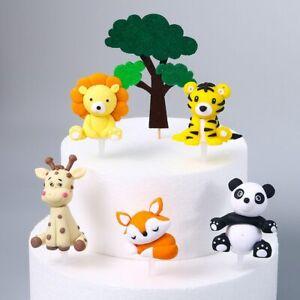 Cute Cartoon Jungle Animal Cake Topper Cupcake Topper Birthday Party Decor yi
