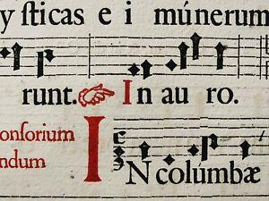 17th Century Antique Gigantic PSALTER LEAF. Gregorian Chant. Music. Book Psalms