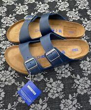 Birkenstock Arizona Soft Footbed Sandal Size 46 Regular Blue Oiled Leather Men's