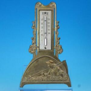 Art Nouveau - Farmer Man with Sickle - Thermometer - Brass Finish White Metal