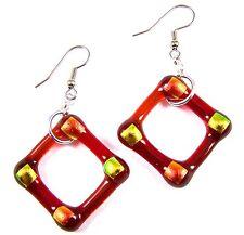 "DICHROIC Glass EARRINGS Red Ruby Orange Gold Diamond Hoop Dangle - Surgical 1"""