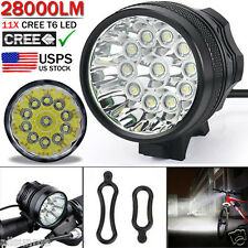 Waterproof 28000LM 11 x CREE XM-L T6 LED 8 x 18650 Bicycle Cycling Light Lamp US