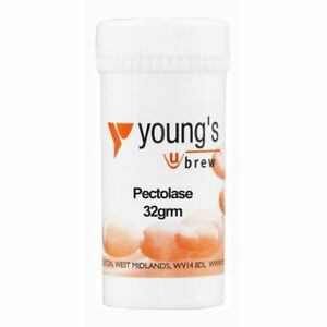 Youngs Pectolase Pectic Enzyme for home wine making brew . 32g re-sealable pot.