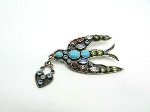 NICKY BUTLER sterling Bird Brooch Pin with Gemstones PEACE DOVE w/ HEART 925