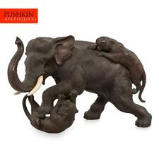 More details for antique 19thc japanese patinated bronze elephant fighting tigers c.1890