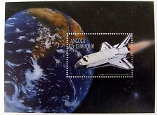 1999 ANGOLA SPACE STAMPS SOUVENIR SHEET COLUMBIA SPACE SHUTTLE EARTH MOON PLANET