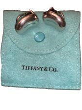 Tiffany & Co. Elsa Peretti Large Sterling Silver Bean Clip Earrings Pouch