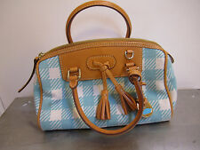 Dooney & Bourke Purse Handbag Plaid Blue Gingham Designer Leather Authentic