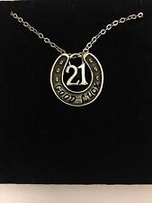 "a Silver Platinum Plated Necklace 18"" Horseshoe 21 R185 English Pewter on"