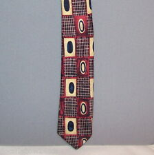 "Kid's Cadet Club BURGUNDY CREAM Geometric Polyester 14"" Clip-On Neck Tie #0.07"