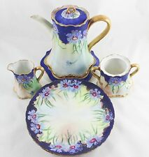 ARTIST HAND PAINTED GILT ANTIQUE COFFEE TEA POT SERVING SET PLATES CREAM SUGAR