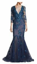 NWT Marchesa Notte Blue Floral Lace Mermaid Gown 4 $1195