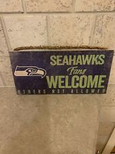 """NFL SEATTLE SEAHAWKS """"FANS WELCOME"""" WOOD SIGN 6""""X12"""" WALL DECOR"""