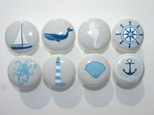 Set of 8 Blue and Grey Nautical Drawer Knobs Sailboat  Whale Seahorse Lighthouse