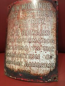 Original Vintage 1940s enamel Sign N.W. Midlands Electric Authority £5 Reward