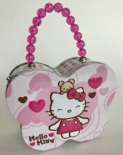 Hello Kitty Butterfly Tin Box Lunch Purse Bead Handle Excellent Super Cute