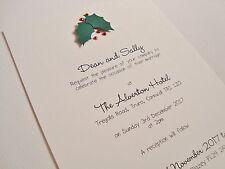 Set of 10 Personalised Handmade Holly Christmas Themed Wedding Invitations