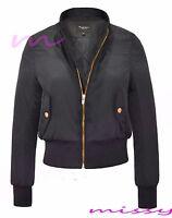 Women Ladies  MA1 Bomber Jacket Vintage Summer Coat Flight Army Biker Retro SIZE