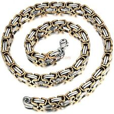 Stainless Steel Gold Silver Color Men's Necklace Byzantine Link Chain 21 Inch