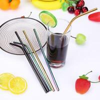 3pcs Reusable Drinking Straws Cleaner Brush Set Stainless Steel Metal Bar Straw