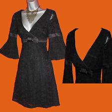 Karen Millen Black Floral Lace A Line Vintage 60's 3/4 Sleeve Cocktail Dress UK8