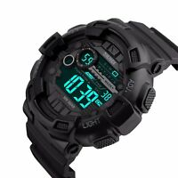 SKMEI Men's Watch Style Sport Digital Display LED Shock Quartz Rubber Black US