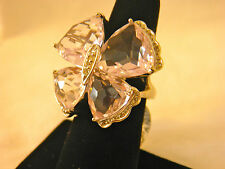 Rose de France Sterling Butterfly Ring 24.00 ct Gemstone Size 8 QVC