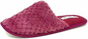 Ladies Fluffy Slippers Womens Teens Girls Pink Closed Toe Mules Size 3-8