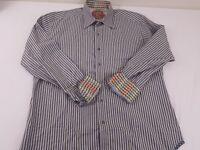 Robert Graham Mens Light Blue Gray Striped Dress Shirt Size Medium