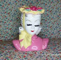 """Lefton Lady Head Vase  in Pink Dress w/Yellow Bow 5"""" 1950s"""