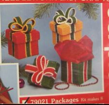 Mary Maxim Packages Ornament Kit Sealed Plastic Canvas Needlepoint Kit Christmas